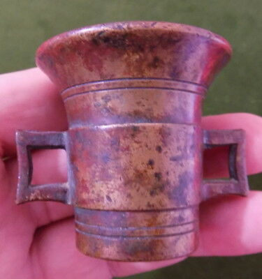 ANTIQUE 18th or 19th CENTURY SMALL SOLID BRASS APOTHECARY OR MEDICAL MORTAR