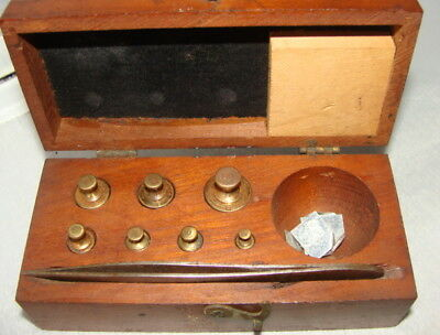 Vintage Apothecary Pharmaceutical Weight set in wood box+ Extra Weights