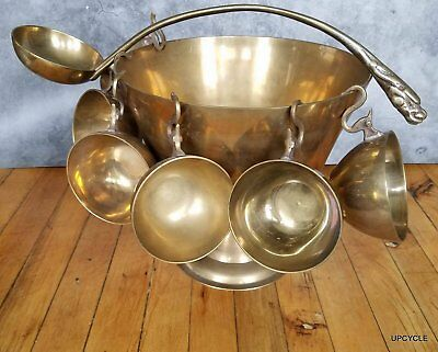 Vintage Brass punch bowl with 6 cups Dragon motif made in Korea CA 1970s