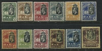 Gambia KGV 1922-28 1/2d to 1/ mint o.g.