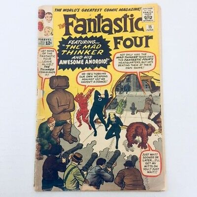 FANTASTIC FOUR #15 1st Appearance Mad Thinker Marvel Comics 1963 Avengers FR/GD!