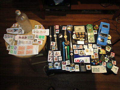 Junk Drawer Lot estate sale old marbles old coins watches old PEPSI BOTTLE yale