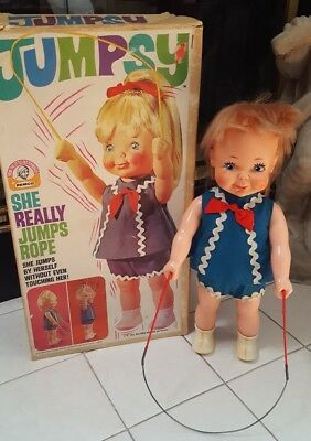 Vintage 1970 REMCO JUMPSY Doll Very Retro Creepy w/ Box orig outfit -Not Working