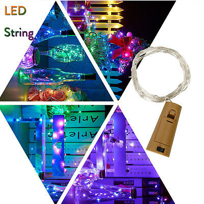 1X 10X LED Cork Shaped Copper Wire String Light Wine Bottle For Xmas Decor RD494