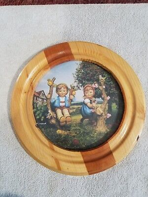 """PICTURE: HUMMEL homemade 2-toned round wood frame, Apple Tree Boy & Girl 9"""""""