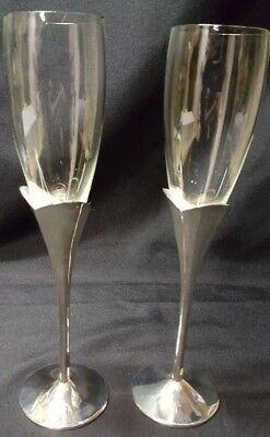Vintage Pair of Lenox Champagne Flutes w/ Silver Plated Stems