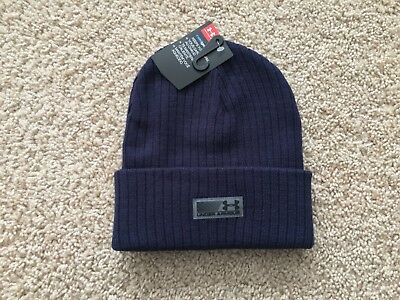 81d34f1109c9cd NEW UNDER ARMOUR Truck Stop Beanie Knit Hat men navy blue 1283122 ...