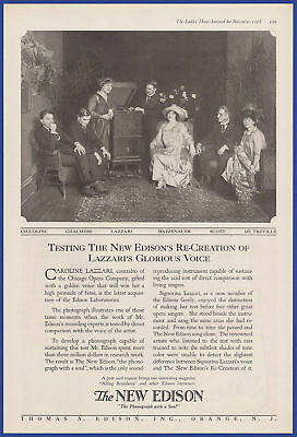 Vintage 1918 NEW EDISON Phonograph Caroline Lazzari Ephemera Art Decor Print Ad