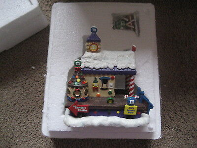 """M&m's / Bradford Collection - M&m Christmas Resin Statue-  """"train Station""""  New"""