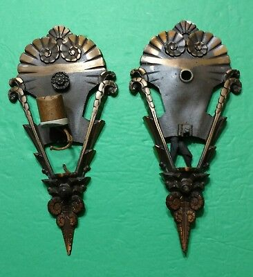 Antique Pair Brass Ornate Wall Sconce Light Fixtures for Restoring Repairs