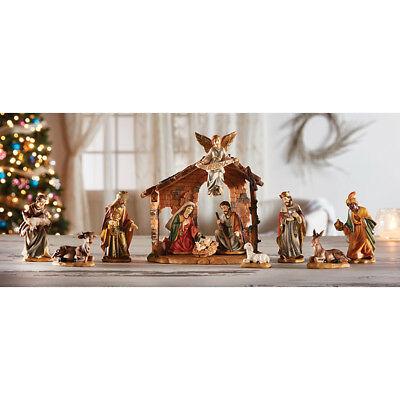 """12 Pieces Nativity Scene 4.25"""" Figures  with Stable Gift Boxed"""