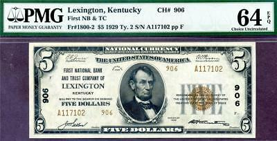 HGR CH#906 1929 $5 LEXINGTON Kentucky TYPE-2 ((Stunning)) PMG CHOICE UNC 64EPQ