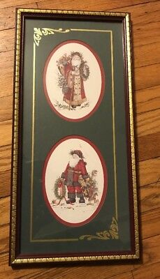 Vtg Home Interior Victorian Old World Santa Claus Picture Framed Matted