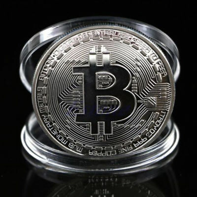 Bitcoin Silver Plated Physical Commemorative Bitcoin +Protective Acrylic Case #L