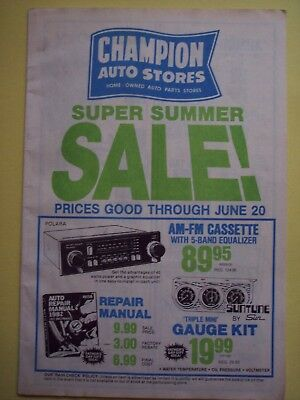 Champion Auto Stores Parts Advertisement 1980s Sales Print Ad Folded 24 Pages