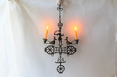 ANTIQUE ANCIENT very old Orthodox  bronze hanging candlestick