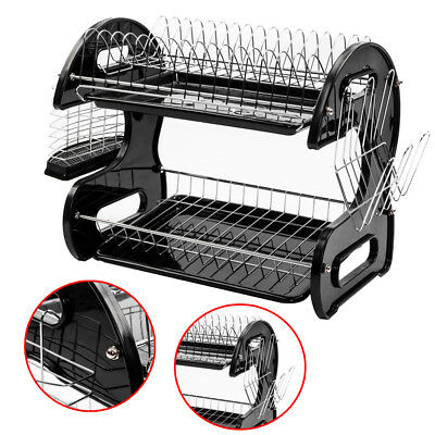 Large Capacity Dish Rack 2 Tier Drainer Drying Kitchen Storage Stainless Steel