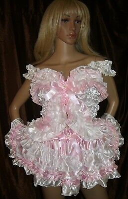 Prissy Sissy Maid CD/TV Adult Baby Pink & White Frilly Mincing Mini Skirt