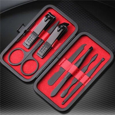 7 Pcs/Set Black Stainless Steel Nail Clipper Cutter Trimmer Set with box US