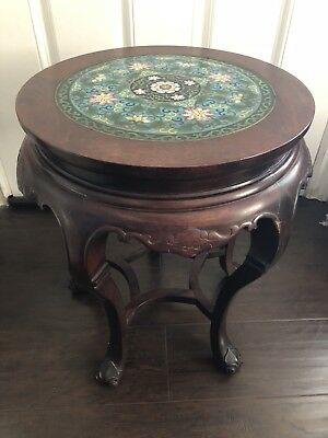 Fine Old Chinese Carved Wood Cloisonne Drum Tea Table Stand Taotie Bats NICE