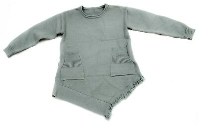 Kids Baby Girls Knitted Long Sleeve Frayed Dress Pocket Top Winter Clothes UK