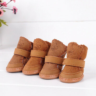 4Pcs Pets Dog Cold Winter Warm Boots Anti-Slip Snow Waterproof Booties Shoes USA
