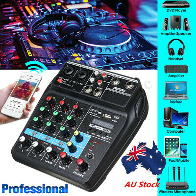 AU 4 Channel USB Bluetooth Sound Live Studio Audio Mixer Mixing console Karaoke