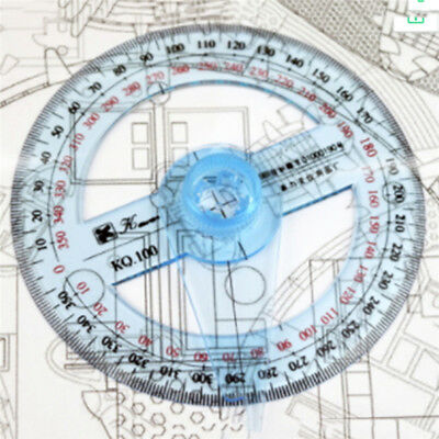 Full Circle Pointer Protractor Angle Ruler 360 Metric Square Built-In Scale LT