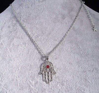 Hamsa Hand With All Seeing Eye Lucky Amulet Silver Chain Necklace.Handmade