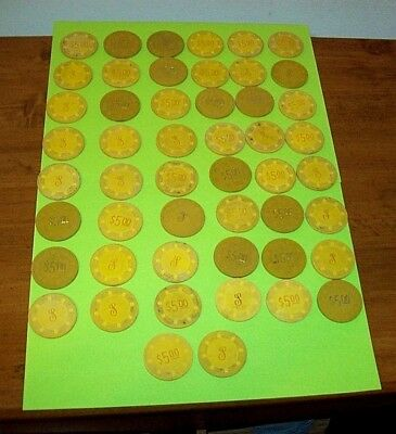 Lot of 50  Vintage $5.00 Yellow Monogrammed Paulson Clay Top Hat Poker Chips