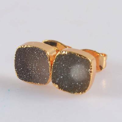 8mm Square Natural Agate Druzy Geode Stud Earrings Gold Plated B067719