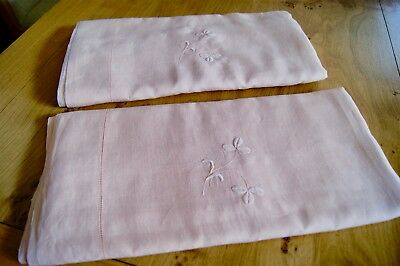 PAIR ANTIQUE VINTAGE PEACH IRISH LINEN BEDSPREADS or EMBROIDERED SHEETS #S5