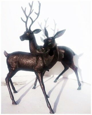 New Lovely pair of our largest Deer garden sculptures with antique bronze finish