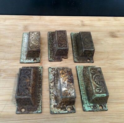 6 Antique Eastlake Victorian Cast-iron Bin, Drawer Pulls, Handles, Cottage