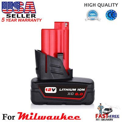 12V Replace For Milwaukee 48-11-2460 48-11-2440 M12 XC 6.0Ah LITHIUM ION Battery