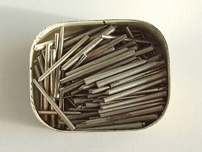 200 steel tapered clock pins assorted sizes for clock makers repairs. NOS