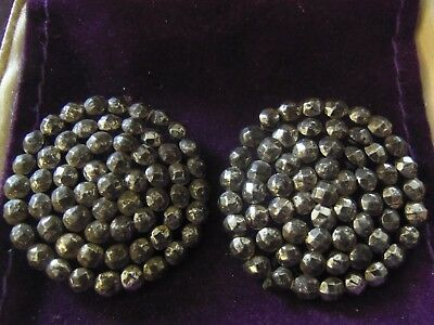 "ANTIQUE PAIR OF GEORGIAN LARGE 1.25""(32mm) ORIGINAL QUALITY CUT STEEL BUTTONS"