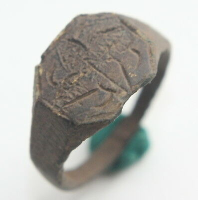 Ancient Bronze Finger Ring With Floral Ornament (SEP30)