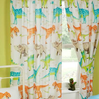 "DINOSAUR WORLD 66"" x 54"" LINED CURTAINS + TIE-BACKS"