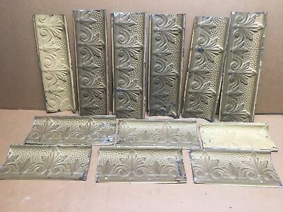 "12pc Lot of 14"" by 6"" Antique Ceiling Tin Vintage Reclaimed Salvage Art Craft"