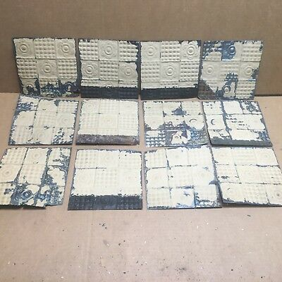 "12pc Craft Lot 7"" by 7"" Antique Ceiling Tin Metal Reclaimed Salvage Art"