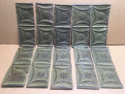 "10pc Craft Lot 11"" by 5"" Antique Ceiling Tin Metal Reclaimed Salvage Art"