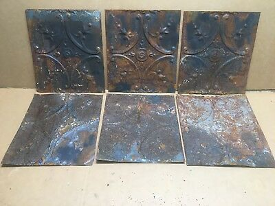 "6pc Lot of 12"" by 10"" Antique Ceiling Tin Vintage Reclaimed Salvage Art Craft"
