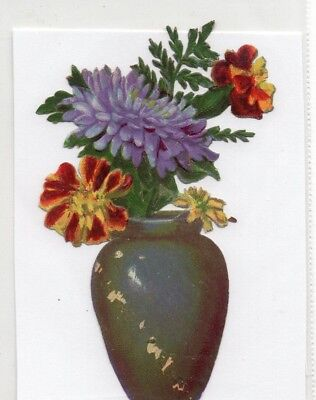 1800's Victorian - Mixed Flowers In Vase Diecut - Selling Lot Of Scrap