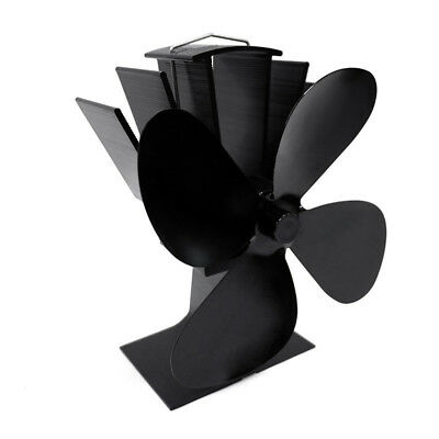 4-Blade Heat Powered Wood Stove Fan with Temperature Gauge for Heaters Fireplace
