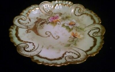 AKCD Limoges France Hand Painted Pink & White Flowers with Gold Trim Salad Plate