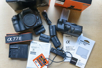 Sony A77II body, grip, charger, batteries, etc.