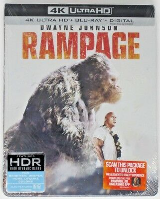 New! Rampage - Limited Edition Steelbook (4K Ultra HD, Blu-ray, Digital)