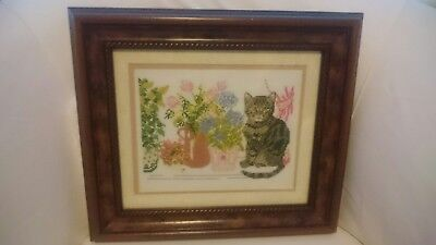 Beautiful Vintage Completed Cat Needlepoint Tapestry Canvas Framed
