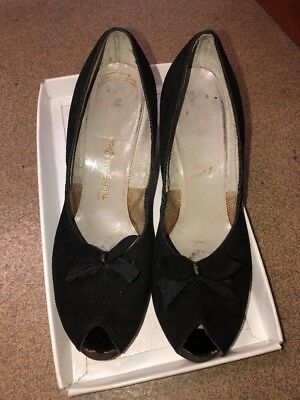 Vintage Red Cross Shoes Peep toe with bow and 2.5 inch heels VINTAGE